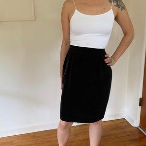 Black vintage silk pencil skirt short midi mini s
